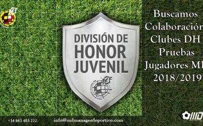 MD Busca Colaboración con Clubes Juveniles DH Pruebas 2018/2019