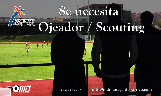MD Oferta Puesto de Ojeador/Scouting para Valencia